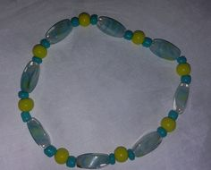 Mixed glass bead bracelet - stretchy - turquoise by BritkneesBootique on Etsy