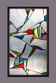 """Fragments: Stained Glass Panel with Abstract Splashes of Color - 13"""" x 21"""". $235.00, via Etsy."""
