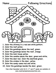 Free Gingerbread House for a following directions activity. More December units for K, 1st and 2nd available at http://www.creativeconnections.com.