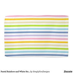 Pastel Rainbow and White Stripes Hand Towels