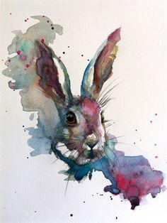 "Saatchi+Art+Artist+Sarah+Stokes;+Painting,+""March+Hare""+#art"