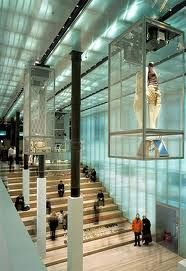 Prada, New York. Architect Rem Koolhaas, OMA. Check the dressing rooms: very very big, different light conditions possible, invisible screen built into the mirror and doors made of transparant/ translucent glass.