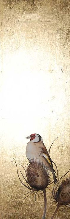 Jackie Morris, Goldfinch. Gold foil, then decoupage or image transfer. Endless possibilities.