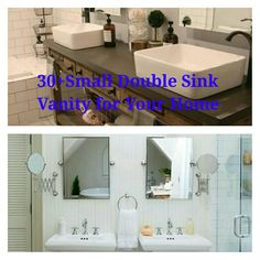 Double Sink Vanity for Your Home - anikasia Bathroom Vanity Units, Vanity Sink, Bathroom Vanities, Sinks, Small Double Sink Vanity, Dark Bathrooms, Undermount Sink, Design Projects, Mirror