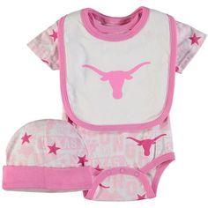 Texas Longhorns Infant Brunswick Bodysuit, Bib & Hat 3-Piece Set - Pink