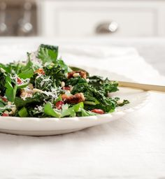 Roasted Kale Salad with Cranberries & Tahini Dressing