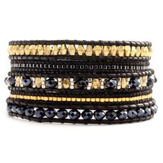 Chan Luu - Black Mix Bead and Crystal Wrap Bracelet on Natural Black Leather, $170.00 (http://www.chanluu.com/wrap-bracelets/black-mix-bead-and-crystal-wrap-bracelet-on-natural-black-leather/)