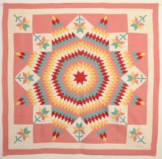 Lone Star Quilt with Tulips: Dated 1931; Pa.