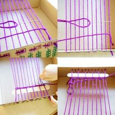 Aug 2018 - No-fail step by step instructions for making a simple box loom weaving with kids or beginner adults. Grab a box, yarn, scissors, and needle to get started! Yarn Crafts For Kids, Projects For Kids, Diy For Kids, Arts And Crafts, Diy Projects, Weaving Yarn, Basket Weaving, Weaving For Kids, Weaving Projects