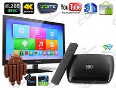 box android tv ultra hd, lettore multimediale 4k, basato su android kitkat per avere smart tv con tutte le applicazioni android
