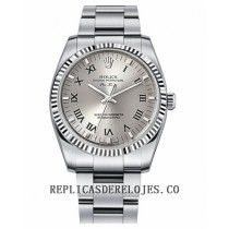 Rolex Air-King dial de plata oro blanco Bisel estriado reloj 114234 SRO