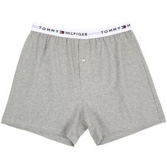 Tommy Hilfiger Athletic Knit Boxer (Grey Heather) Men's Underwear ($20) ❤ liked on Polyvore featuring men's fashion, men's clothing, men's underwear, mens knit boxers, mens boxers and mens underwear boxers