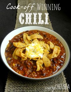 Cook-off winning chili >> Here's your recipe if you need a quick recipe to bring to a chili cook-off. It only has five ingredients!