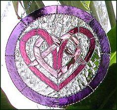 "Irish Heart Stained Glass Suncatcher - Pink & Purple Celtic Knot Sun Catcher Design - Wedding Gift - Glass Art -Stained g;ass suncatchers, Glass art, Suncatchers, Stained glass, Art glass, Glass sun catcher, Stained glass panel, Glass suncatchers, Stained glass suncatcher -  11"" -  by StainedGlassDelight"