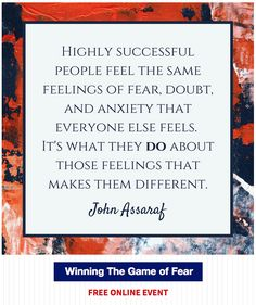 Winning The Game of Fear: free webinar with John Assaraf / #selfimprovement #personalgrowth / http://talentdevelop.com/JAWTGFp