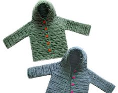 Hooded Baby Cardigan Sweater (5 Sizes) - PDF Crochet Pattern - Instant Download