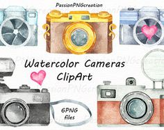 Flowers & Cameras. 6 Handpainted clipart от OctopusArtis на Etsy