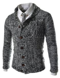 TheLees Men's Slim Fit 7 Button Knitted Cardigan