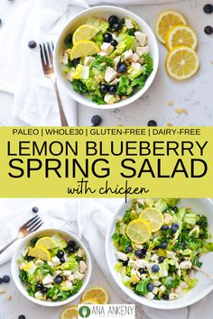 My new Lemon Blueberry Spring Salad with Chicken is the perfect light and refreshing springtime salad. Zesty lemon vinaigrette mixed with roasted chicken, sweet blueberries, and kale and romaine lettuce. Ana Ankeny - Healthy Recipes recipes with chicken Whole 30 Recipes, Real Food Recipes, Chicken Recipes, Snacks Recipes, Free Recipes, Whole 30 Salads, Blueberry Chicken, Cilantro Lime Chicken, Healthy Recipes