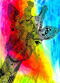 Colourful giraffe.