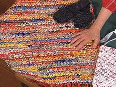 I saw a friend doing this last night. She's making a durable reusable bag out of old plastic walmart bags. Brilliant..