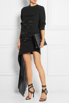 ANTHONY VACCARELLO Asymmetric crepe and chiffon mini skirt