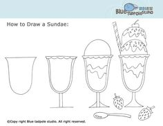 drawing a sundae - could also be a good sub lesson Art Sub Lessons, Drawing Lessons, Doodle Drawings, Easy Drawings, Art Sub Plans, Art Handouts, 4th Grade Art, Doodles, Art Worksheets