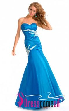 Royal Blue Mermaid/Trumpet Sweetheart Beaded Floor-length Taffeta Formal Dress [FLD3044] - Wedding Dresses,Prom Dresses,Evening Gowns By DressComeOn Online Shop, Best Service,Best Price