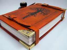 Large Leather Journal Custom Leather Bound Journal by LadyArtisan, $365.00