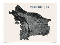 Portland Map Art City Print, 18 x 24. $28.00, via Etsy.
