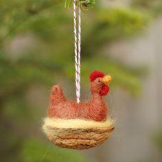 Chicken in a Walnut Rhode Island Red Needle door BossysFeltworks