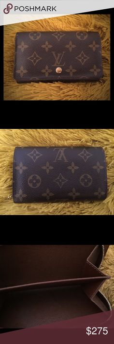 Louis Vuitton Bifold Monogram Wallet REDUCED! Price is firm 😊 Authentic LV Piece in good condition! Please see all additional pictures to determine full condition. Dollar bill fold is clean. It does have some stains inside coin pocket but overall a nice looking wallet 🍂💃🏻🌻It's a little hard to take picture of the date code but it's CA0074. Louis Vuitton Bags Wallets