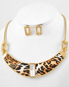 Gold Tone / Clear Glass & Rhinestone / Lead Compliant / Brown Leopard Print Leatherette / Necklace & Post Earring Set