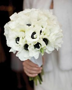 hydrangea and anemone flower arrangement | White Wedding Bouquets - Martha Stewart Weddings Flowers