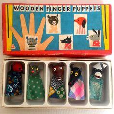 Vintage 1960's Wooden Finger Puppets
