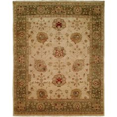 Meridian Rugmakers Geelong Hand-Knotted Ivory/ Green Area Rug Rug Size: 8' x 10'