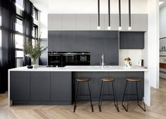 6 Big Kitchen Design Trends are Coming. Will You Embrace Them? coloured kitchen cabinets charcoal grey kitchen cabinets with white benchtop freedom kitchens Natural Wood Kitchen Cabinets, Kitchen Cabinet Colors, Kitchen Colors, Kitchen Layout, Kitchen Ideas, Grey Kitchen Designs, Kitchen And Bath Design, Modern Kitchen Design, Modern Grey Kitchen