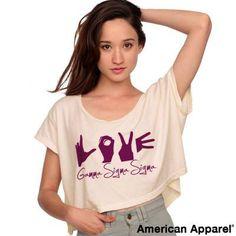 Gamma Sigma Sigma Loose Crop Tee w/ Love Hands - American Apparel RSABB380 - CAD
