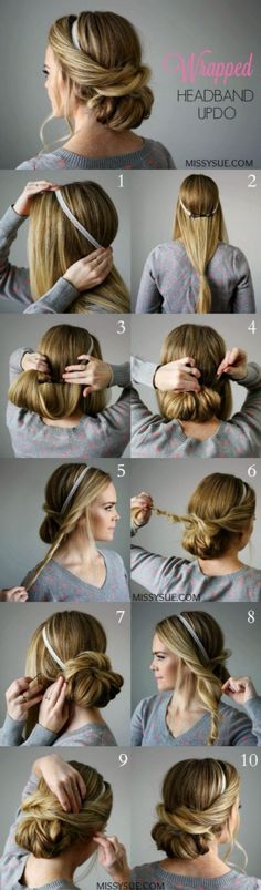 25 Step By Step Tutorial For Beautiful Hair Updos ? - Page 2 of 5 - Trend To Wear (Coiffure Pour Cheveux) Updo With Headband, Hairband Hairstyle, Headband Tutorial, Hair Styles Headband, Hair Ponytail, Fancy Ponytail, Updo Curls, Ponytail Tutorial, Perfect Ponytail