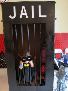 batgirl superhero birthday, DIY jail prop, no villains allowed, batman