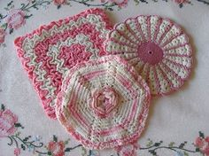 vintage crocheted potholders pink and white by OldLikeUs on Etsy, $10.00