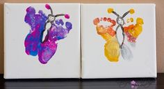 butterfly toddler footprints on canvas with acrylic paint