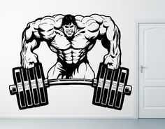 Wall Vinyl Sticker Decals Mural Room Design Decor Pattern Strong Man Muscle Brawn Burbell Gym mi347 by RoomDecalsAndDesigns on Etsy