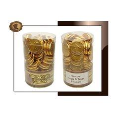 Chocolade munten in koker  Gewicht 290 gram. Smaak Melkchocolade. Te bestellen vanaf 100 stuks.  #chocolade  #muntjes