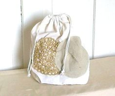 Gift bag, Cotton bag, Lingerie bag. Shabby Chic Embellished Christmas OOAK - OFG, Upcycled,