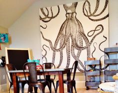 DIY Octopus Art Brillant Idea For Large Canvas Artwork Take A Shower Curtain Stretch Over Frame Staple And Hang Maybe Something Other Than An
