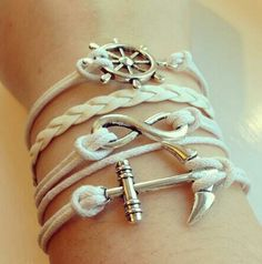 Image uploaded by Find images and videos about fashion, white and bracelet on We Heart It - the app to get lost in what you love. Wedding Jewelry, Diy Jewelry, Jewelery, Jewelry Accessories, Jewelry Making, Jewelry Bracelets, Nautical Bracelet, Nautical Jewelry, Bracelet Nautique