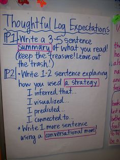 Setting the Bar High ~ Anchor chart to clarify expectations for reading logs. Could easily be modified to work for other tasks. (Thought provoking blog post - Free.)