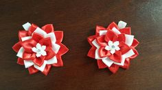 These lovely Flowers are handmade in the technique of Kanzashi from satin ribbon.  The clips sell AS A PAIR. If you want to request a color