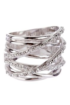 Sterling Silver Smooth & Pave CZ Multi-Row Ring on HauteLook